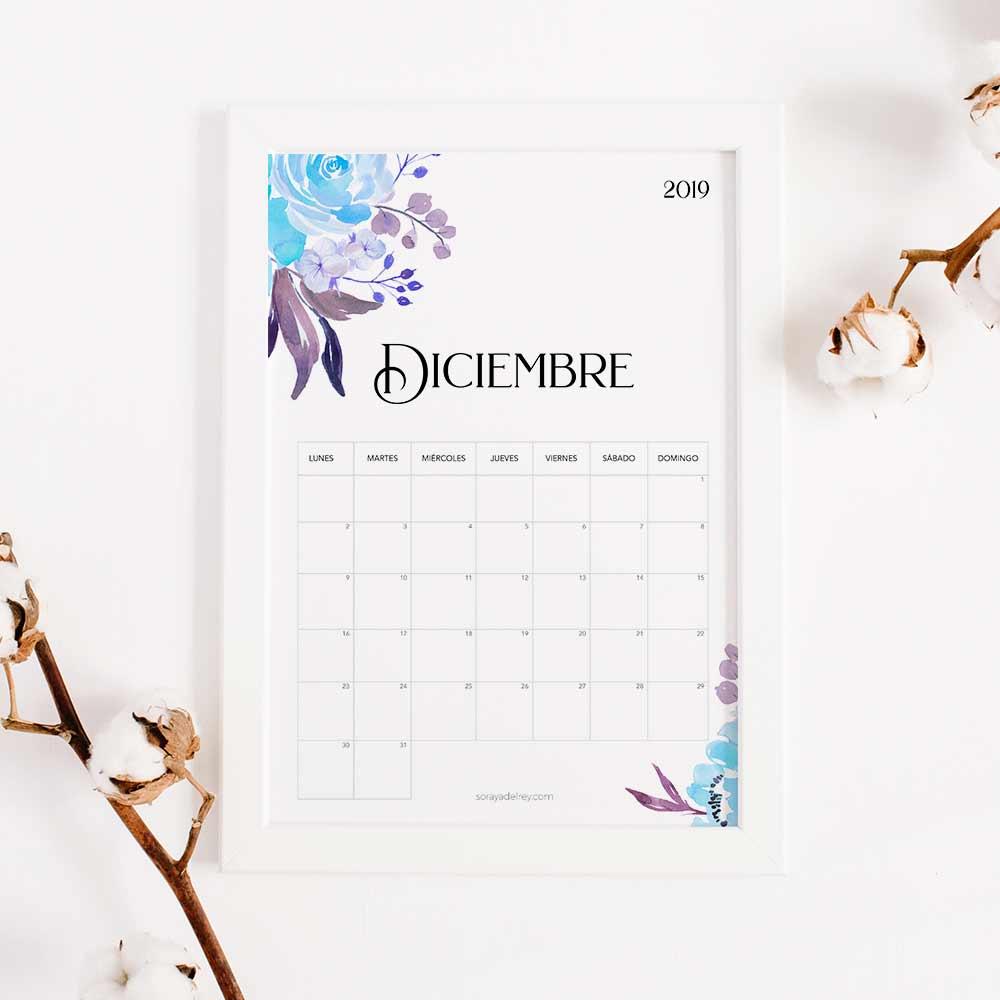 imprimir calendario diciembre 2019