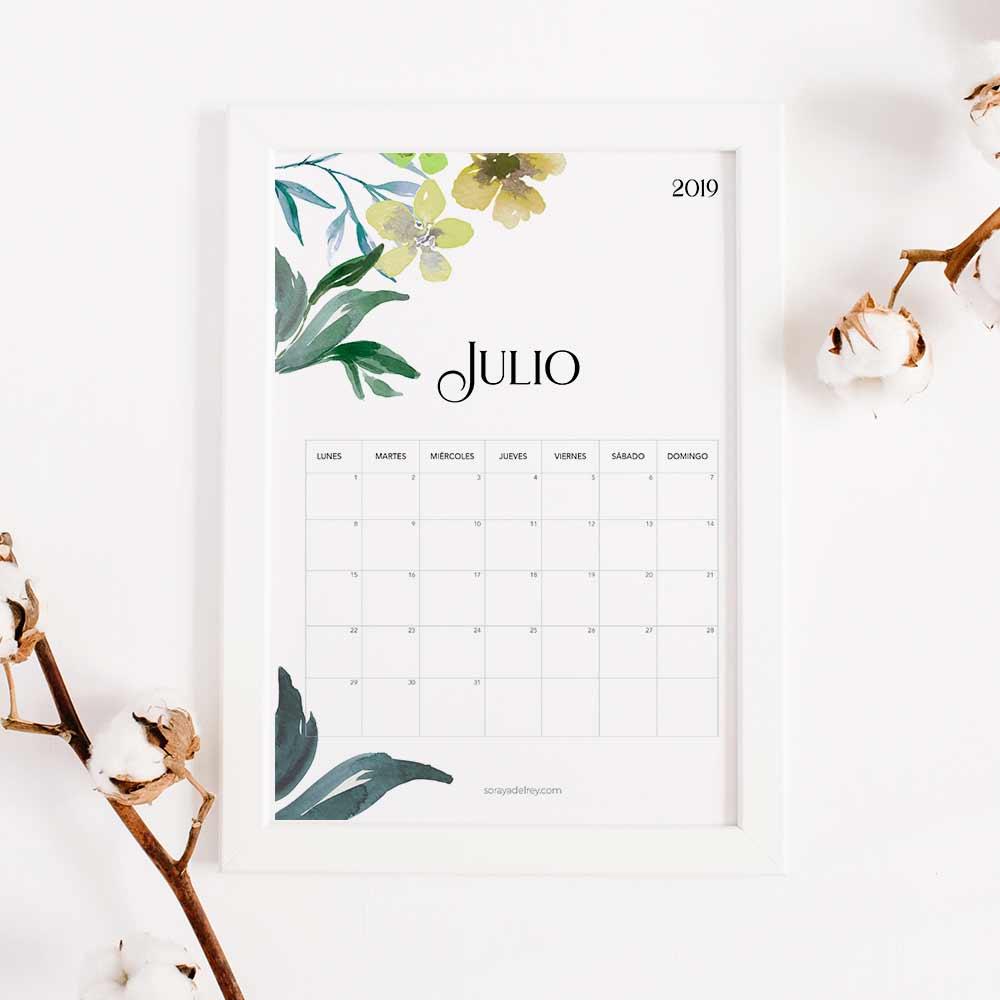 imprimir calendario julio 2019
