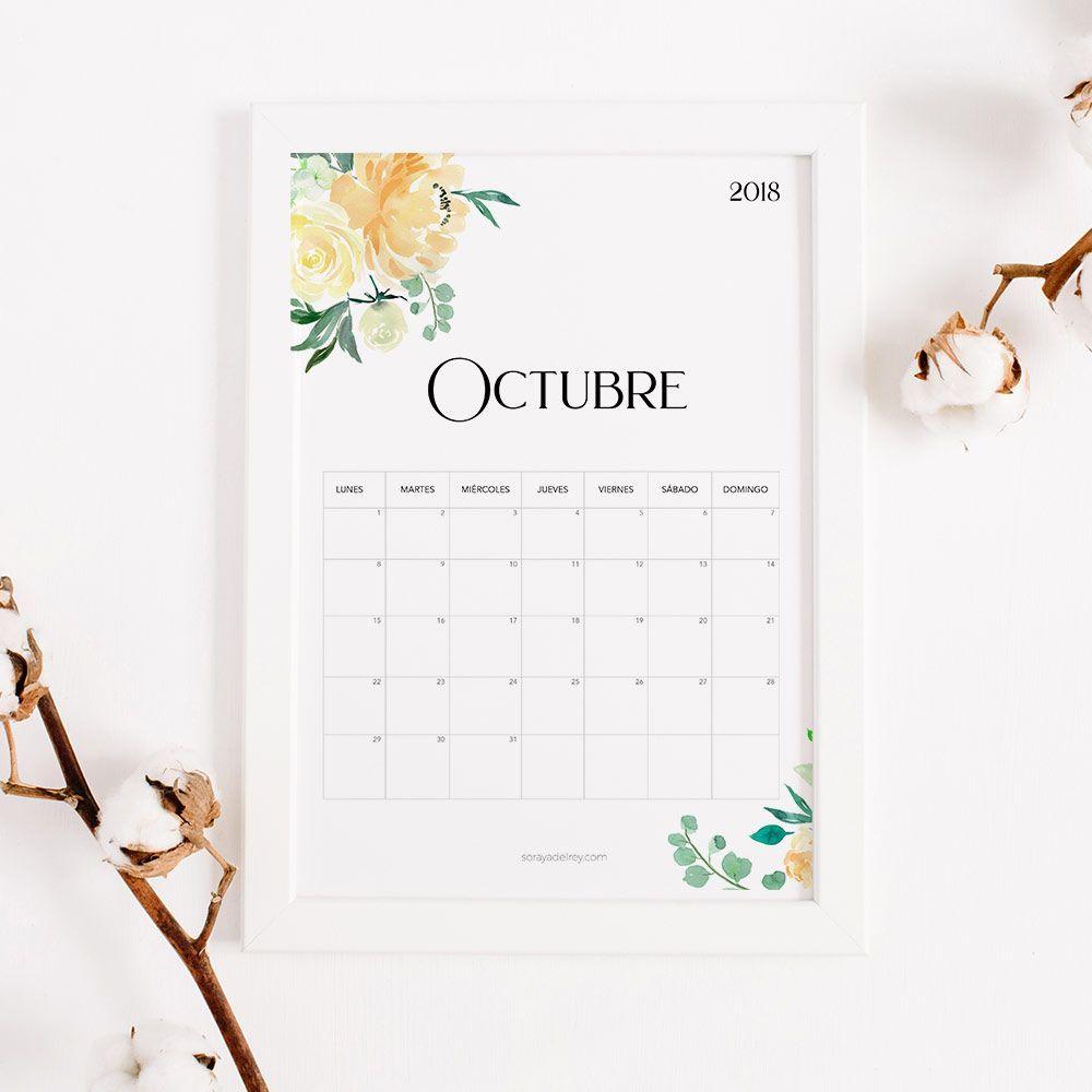 imprimir calendario octubre 2018