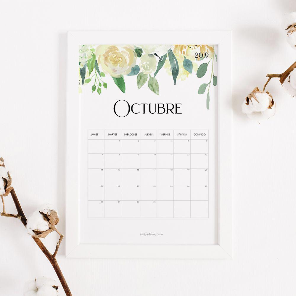 imprimir calendario octubre 2019