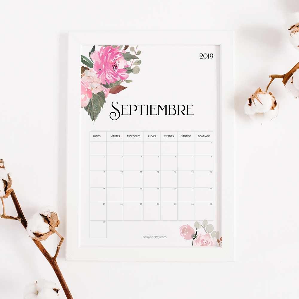 imprimir calendario septiembre 2019